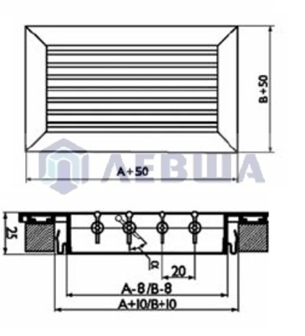 Решетка однорядная алюминиевая RAG 400х200