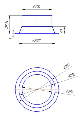 Переход центральный 200х250 мм полипропилен