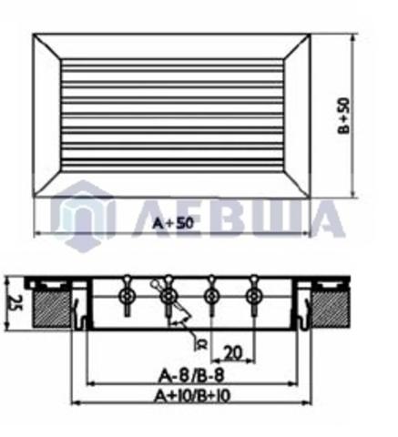 Решетка однорядная алюминиевая RAG 500х200