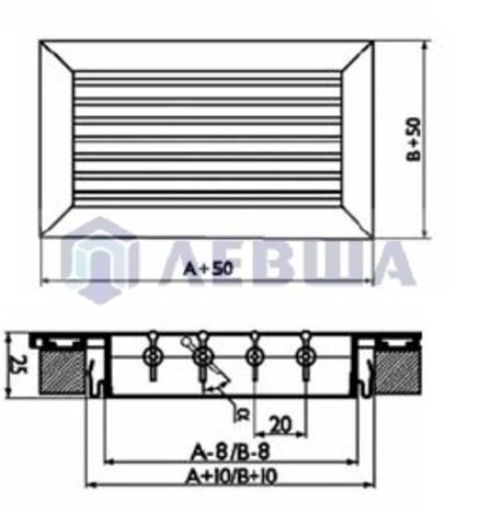 Решетка однорядная алюминиевая RAG 500х250
