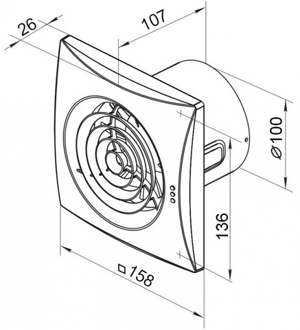 Вентилятор накладной Vents 100 Quiet T (таймер)