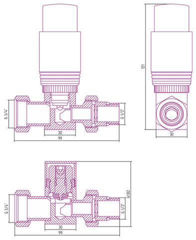 "Автоматический терморегулятор прямой G 1/2"" НР х G 3/4"" НГ (набор) Сунержа"
