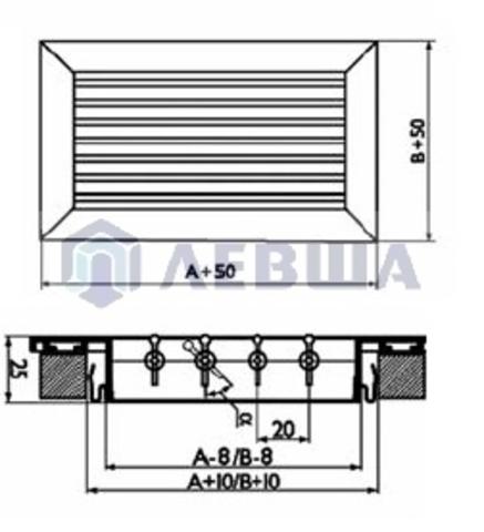 Решетка однорядная алюминиевая RAG 600х100