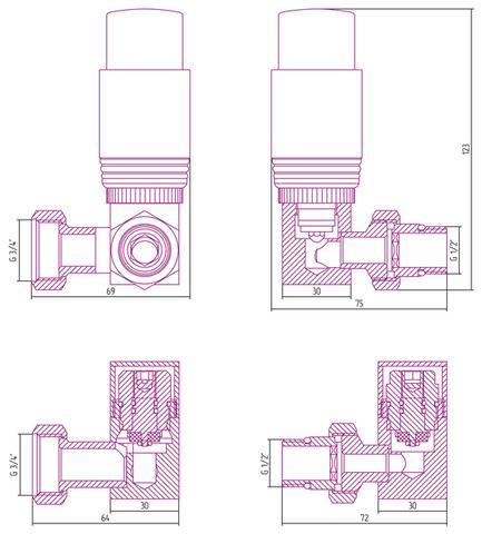 """Автоматический терморегулятор 3D левый G 1/2"""" НР х G 3/4"""" НГ (набор) Сунержа"""