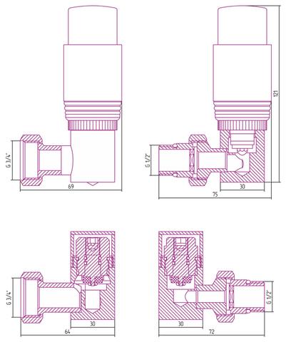 "Автоматический терморегулятор 3D правый G 1/2"" НР х G 3/4"" НГ (набор) Сунержа"