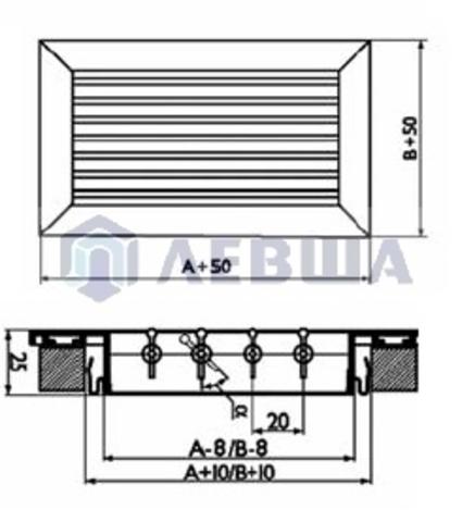 Решетка однорядная алюминиевая RAG 600х300