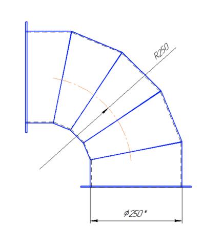 Колено 90 градусов 250 мм полипропилен