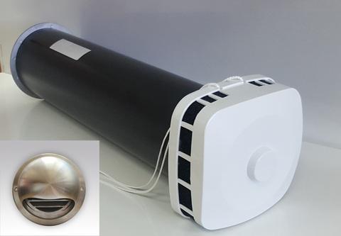 Клапан Инфильтрации Воздуха Airone КИВ-К 125 0.5м с выходом стенным из нержавеющей стали и квадратным оголовком