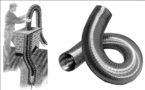 Газоход гофрированный d 115 мм (3м) из нержавеющей стали