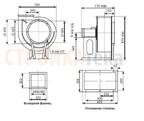 Вентилятор радиальный ВЦ 14-46-4,0 (1,1кВт/1000об) Среднего давления